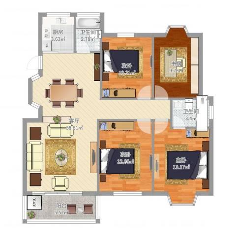 高峰家园4室1厅2卫1厨121.00㎡户型图