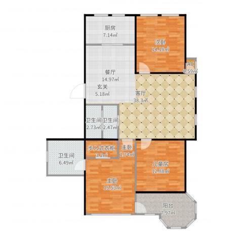 莫奈的花园3室1厅3卫1厨139.00㎡户型图