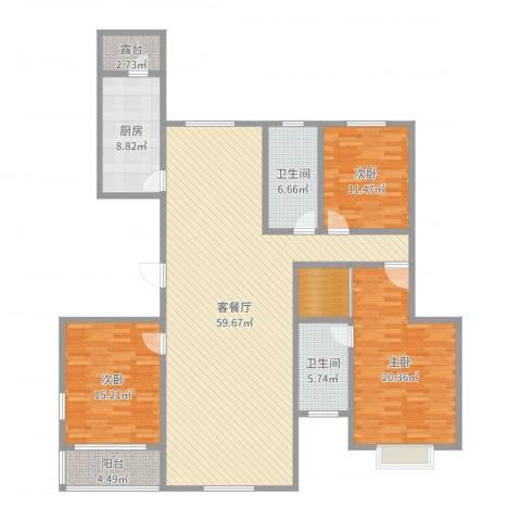 杏林苑小区3室2厅2卫1厨173.00㎡户型图