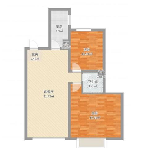 锦绣蓝湾2室2厅1卫1厨87.00㎡户型图