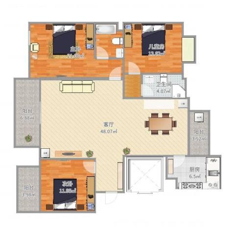 新方嘉园3室1厅1卫1厨152.00㎡户型图