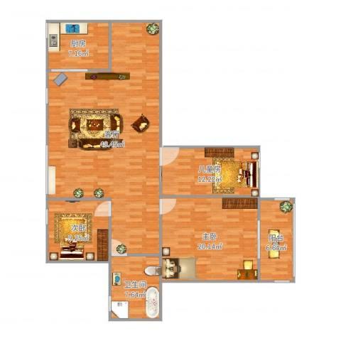 衫湾花园2室1厅1卫1厨124.00㎡户型图