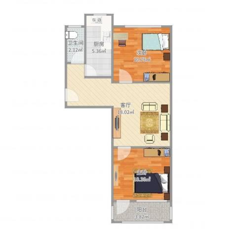 公交公司宿舍2室1厅1卫1厨63.00㎡户型图