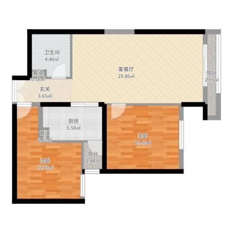 巨华世纪城二期和谐园2室2厅1卫1厨87.00㎡户型图