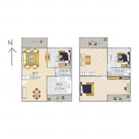 航空别墅2室1厅2卫1厨247.00㎡户型图