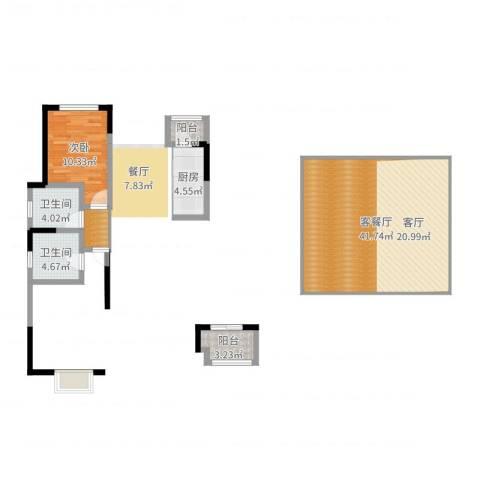 贻成豪庭1室2厅2卫1厨89.00㎡户型图