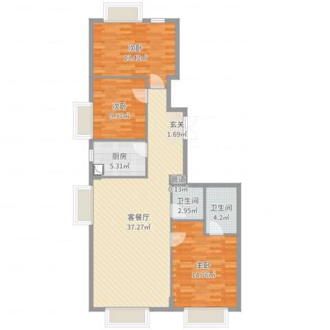 御翠湾3室2厅2卫1厨109.00㎡户型图
