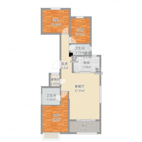 唐山新世界中心3室2厅2卫1厨125.00㎡户型图
