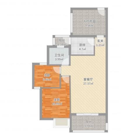 翠堤尚园2室2厅1卫1厨89.00㎡户型图