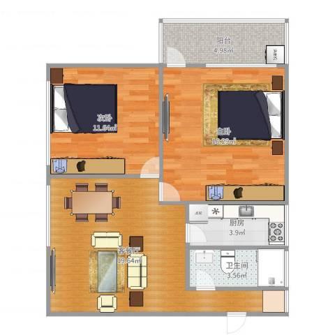 明珠东苑170号3012室2厅1卫1厨75.00㎡户型图