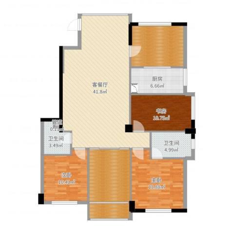 骏霖左岸丽川3室2厅2卫1厨146.00㎡户型图