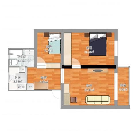 巨野小区2室2厅1卫1厨62.00㎡户型图