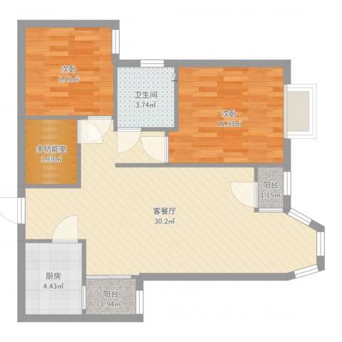 珠江逸景家园2室2厅1卫1厨81.00㎡户型图