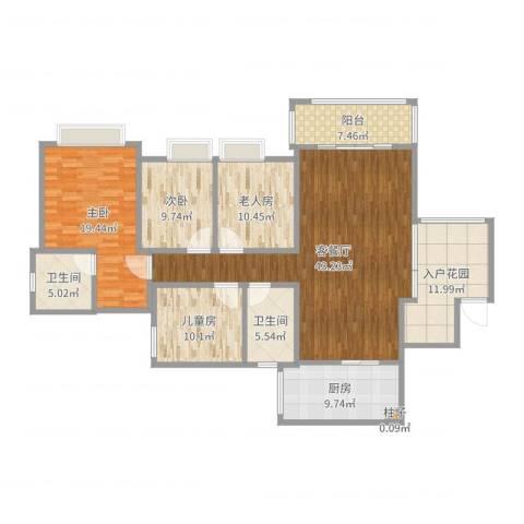 军安卫士花园4室2厅4卫1厨166.00㎡户型图