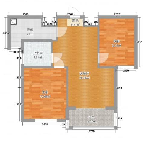 东城佳园2室2厅1卫1厨73.00㎡户型图