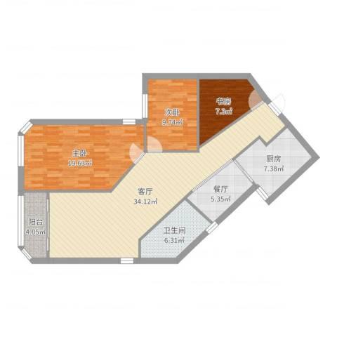 百合花苑3室2厅1卫1厨117.00㎡户型图
