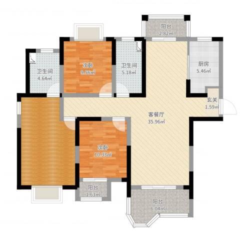 合生杭州湾国际新城2室2厅2卫1厨123.00㎡户型图