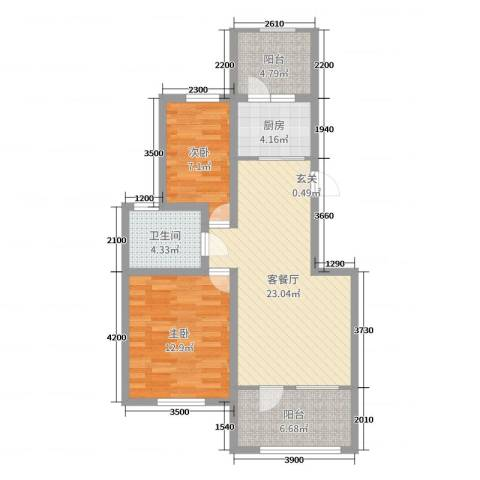 益丰乾城2室2厅1卫1厨79.00㎡户型图