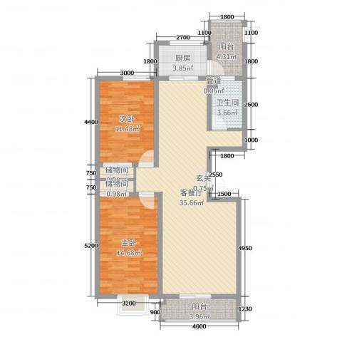 滨河悦秀2室2厅1卫1厨116.00㎡户型图
