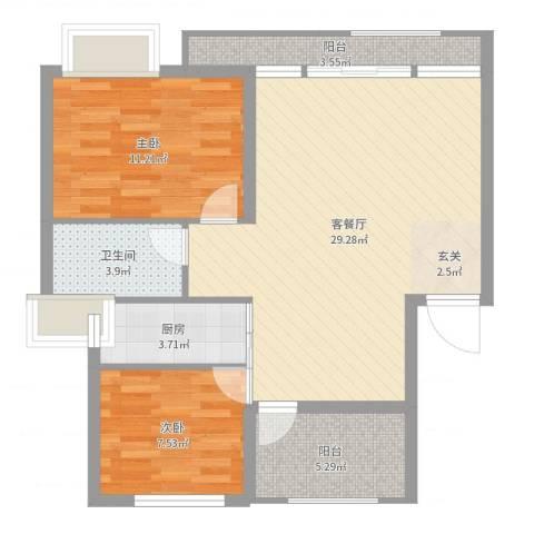 淮北凤凰城2室2厅1卫1厨81.00㎡户型图