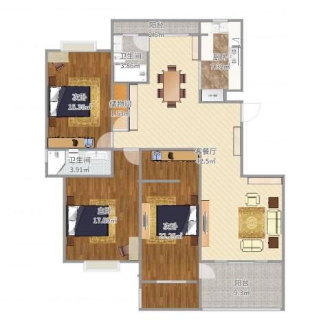 金华东苑3室2厅2卫1厨157.00㎡户型图