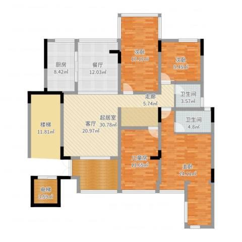 卓信龙岭4室1厅2卫1厨169.00㎡户型图