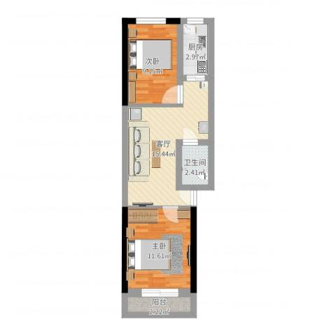 中华小区2室1厅1卫1厨55.00㎡户型图