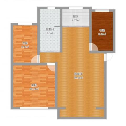 福景佳苑3室2厅1卫1厨132.00㎡户型图