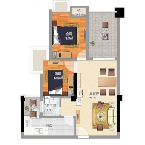 香榭国际2室2厅1卫1厨81.00㎡户型图