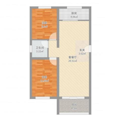 格兰小镇2室2厅1卫1厨78.00㎡户型图