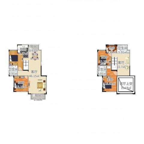 保利林语4室2厅3卫1厨217.00㎡户型图