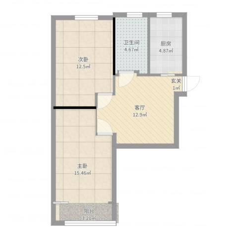 共康七村2室1厅1卫1厨63.00㎡户型图