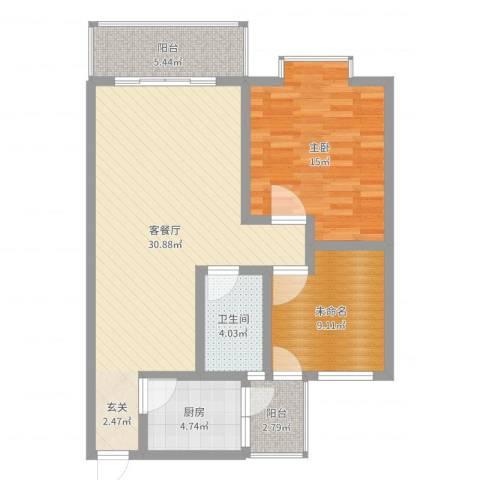 江岸山景1室2厅1卫1厨104.00㎡户型图