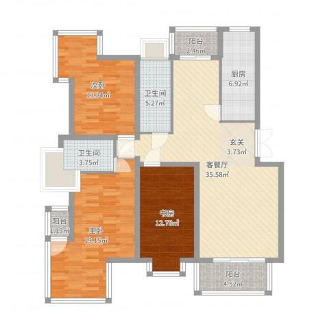 华厦清水湾3室2厅2卫1厨151.00㎡户型图