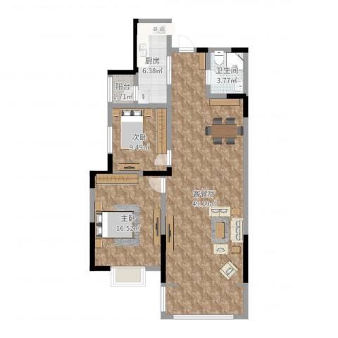 湟家花园2室2厅1卫1厨87.07㎡户型图