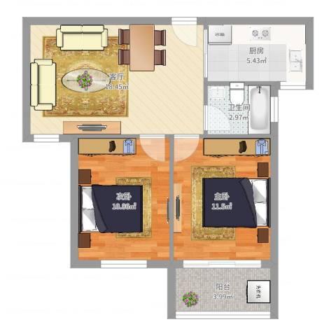 宁沁家园2室1厅1卫1厨67.00㎡户型图