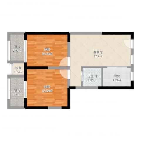瑞和山水居2室2厅1卫1厨68.00㎡户型图