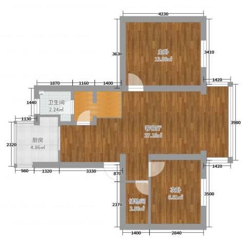 天乐小区2室2厅1卫1厨78.00㎡户型图