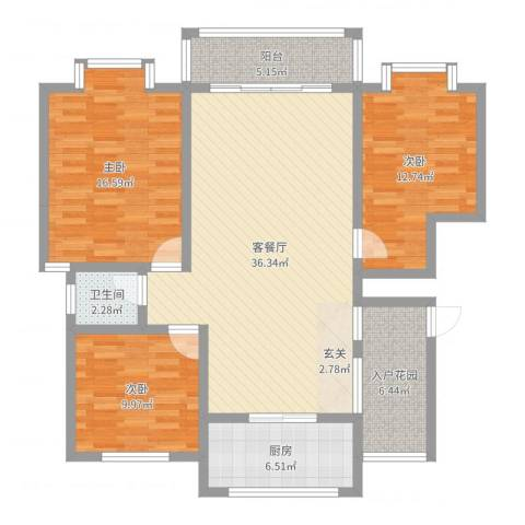 一品江南3室2厅1卫1厨120.00㎡户型图