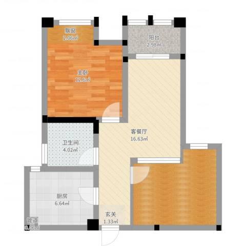 藻江花园二期1室2厅1卫1厨68.00㎡户型图