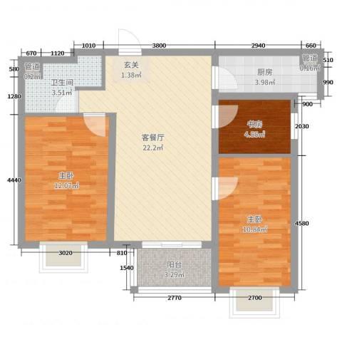 万科高新华府3室2厅1卫1厨90.00㎡户型图