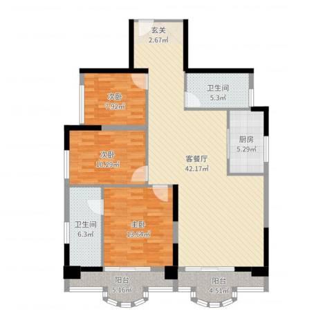 御峰臻品3室2厅2卫1厨126.00㎡户型图