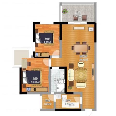 楠香山2室2厅1卫1厨96.00㎡户型图