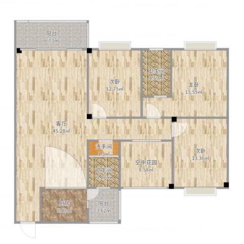 文苑小区3室1厅2卫1厨138.00㎡户型图