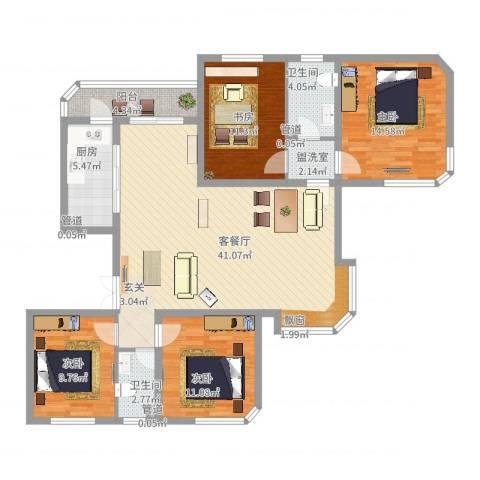 华夏奥韵4室2厅2卫1厨152.00㎡户型图