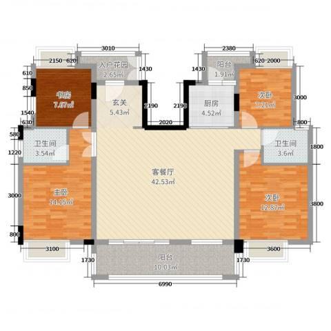 紫金山体育公园牡丹园4室2厅2卫1厨142.00㎡户型图