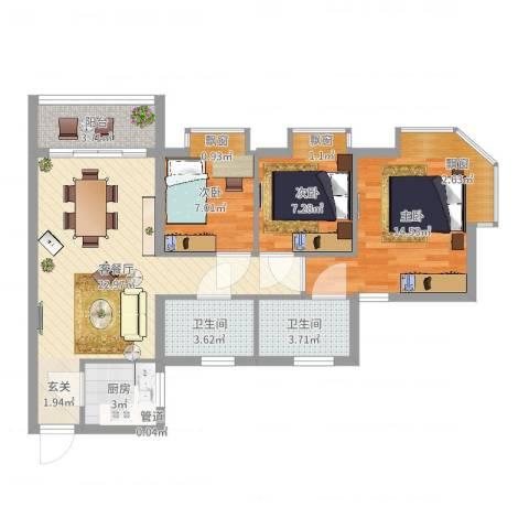 欧洲假日国际公寓3室2厅2卫1厨82.00㎡户型图