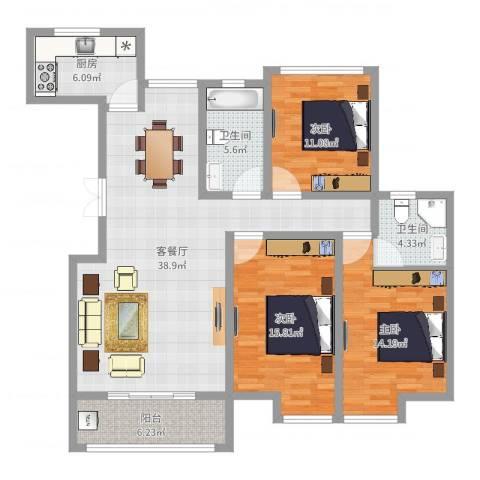 五洲龙湾3室2厅2卫1厨128.00㎡户型图