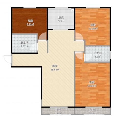 江南府-设计:杨宇宸3室1厅2卫1厨104.00㎡户型图
