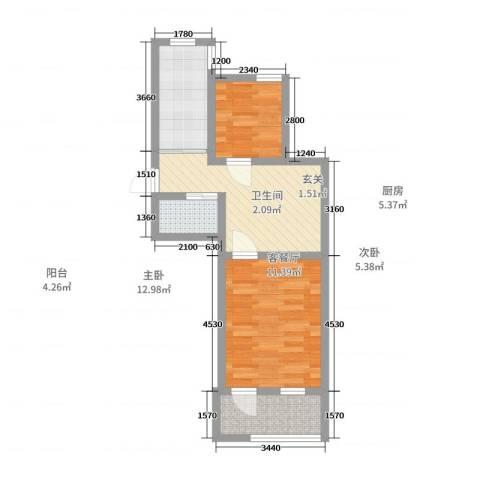 机神新村18幢2单元601室2室2厅1卫1厨51.00㎡户型图